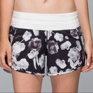 Lululemon Ink floral tracker shorts II. Size 6
